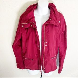 Abercrombie & Fitch Red hoodie rain jacket coat
